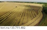 Harvesting grain by the combine in the central black earth of Russia. Стоковое видео, видеограф Володина Ольга / Фотобанк Лори