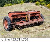 Купить «Сеялка для зерновых культур», фото № 33711766, снято 5 сентября 2019 г. (c) Вячеслав Палес / Фотобанк Лори