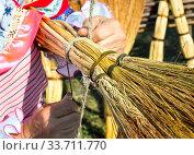 Изготовление домашнего веника из ветвей сорго. Стоковое фото, фотограф Вячеслав Палес / Фотобанк Лори