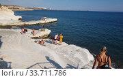 Limassol, Cyprus - Oct 10. 2019 Governor beach with white limestone cliffs. Landmark. Редакционное видео, видеограф Володина Ольга / Фотобанк Лори
