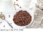 Купить «Шоколадные шарики с молоком и фруктами. Сухой завтрак», фото № 33711794, снято 7 мая 2020 г. (c) Марина Володько / Фотобанк Лори