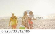 Купить «Friends going to party on beach », видеоролик № 33712186, снято 25 февраля 2020 г. (c) Wavebreak Media / Фотобанк Лори