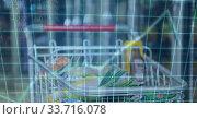 Купить «A cart filled up with errands in a store shelf over a green grid», фото № 33716078, снято 7 июля 2020 г. (c) Wavebreak Media / Фотобанк Лори