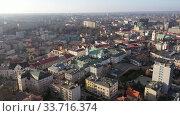 Купить «Aerial view of historical part of Rzeszow town at day, Poland», видеоролик № 33716374, снято 10 марта 2020 г. (c) Яков Филимонов / Фотобанк Лори