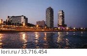 Купить «Evening view of Port in Barcelona. Catalonia, Spain.», видеоролик № 33716454, снято 26 апреля 2019 г. (c) Яков Филимонов / Фотобанк Лори