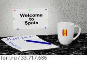 Купить «Big mug and label on the wall with text Welcome to Spain. 3D rendering.», фото № 33717686, снято 14 июля 2020 г. (c) age Fotostock / Фотобанк Лори