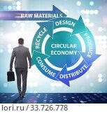 Concept of circular economy with businessman. Стоковое фото, фотограф Elnur / Фотобанк Лори
