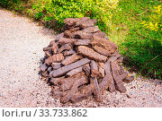 Pile of brown peat bricks drying in sunlight on green grass, fuel to be used in fireplace. Стоковое фото, фотограф Zoonar.com/Dawid Kalisinski / easy Fotostock / Фотобанк Лори