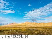 Купить «Qinghai three river sources core region landscape, tibetan gazelles and plateau meadow prarie against a blue sky, China», фото № 33734486, снято 1 июня 2020 г. (c) easy Fotostock / Фотобанк Лори