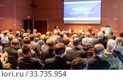Купить «Round table discussion at business conference event.», фото № 33735954, снято 13 мая 2014 г. (c) Matej Kastelic / Фотобанк Лори