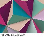Abstract colorful low-poly background. Minimal 3d art. Стоковая иллюстрация, иллюстратор EugeneSergeev / Фотобанк Лори