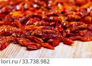 Купить «Closeup of dried cayenne peppers», фото № 33738982, снято 25 мая 2020 г. (c) Яков Филимонов / Фотобанк Лори
