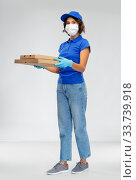 Купить «delivery woman in face mask with pizza boxes», фото № 33739918, снято 26 марта 2020 г. (c) Syda Productions / Фотобанк Лори