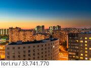 Купить «Beautiful sunset in a Zelenograd residential area of Moscow, Russia», фото № 33741770, снято 29 августа 2019 г. (c) Володина Ольга / Фотобанк Лори