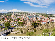 Panorama view of Tbilisi, capital of Georgia country. View from Narikala Fortress. Редакционное фото, фотограф Николай Коржов / Фотобанк Лори
