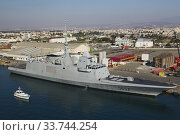 Купить «French Navy frigate D654 docked in Limassol port, Cyprus.», фото № 33744254, снято 2 октября 2019 г. (c) age Fotostock / Фотобанк Лори