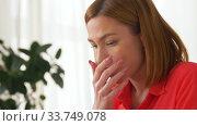 Купить «stressed woman with smartphone at home office», видеоролик № 33749078, снято 11 апреля 2020 г. (c) Syda Productions / Фотобанк Лори