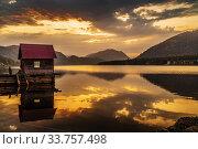 Lake wharf with a wooden pier at dawn. Teletskoye Lake, Artybash Village, Altai Republic, Russia. Стоковое фото, фотограф Вадим Орлов / Фотобанк Лори