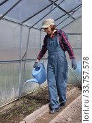 Купить «Young adul woman watering in greenhouse», фото № 33757578, снято 11 мая 2020 г. (c) Алексей Кузнецов / Фотобанк Лори