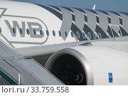 Купить «Пассажирский широкофюзеляжный двухдвигательный самолёт Airbus A350-900 XWB с регистрационным номером F-WCF на Международном авиасалоне МАКС-2019 в Жуковском, Россия, фрагмент», фото № 33759558, снято 29 августа 2019 г. (c) Малышев Андрей / Фотобанк Лори