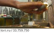 Купить «Caucasian male hands factory worker at a factory standing at a workbench and operating machinery», видеоролик № 33759750, снято 23 ноября 2019 г. (c) Wavebreak Media / Фотобанк Лори