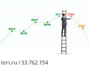 Купить «Businessman in market crash concept», фото № 33762154, снято 6 июня 2020 г. (c) Elnur / Фотобанк Лори