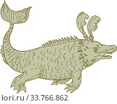 Купить «Drawing sketch style illustration of an ancient sea monsters, marine beings from folklore believed to dwell in the sea and often imagined to be of immense...», фото № 33766862, снято 3 июля 2020 г. (c) easy Fotostock / Фотобанк Лори