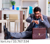 Купить «Businessman late for office due to oversleeping after overnight working», фото № 33767534, снято 4 июля 2020 г. (c) easy Fotostock / Фотобанк Лори