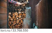 Купить «Woodcutter about to chop big log with an ax in woodpile», видеоролик № 33768550, снято 2 июня 2020 г. (c) Константин Шишкин / Фотобанк Лори