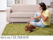 Купить «Young man with cocker spaniel dog», фото № 33769610, снято 28 июня 2019 г. (c) Elnur / Фотобанк Лори
