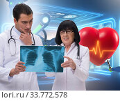 Купить «Telemedicine concept with remote monitoring of heart condition», фото № 33772578, снято 27 мая 2020 г. (c) Elnur / Фотобанк Лори