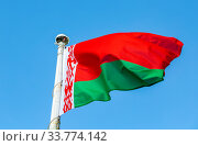 National flag of Belarus waving in the wind against the sky. Стоковое фото, фотограф FotograFF / Фотобанк Лори