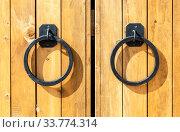 Massive wooden gate with metal knobs. Стоковое фото, фотограф FotograFF / Фотобанк Лори