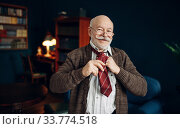 Купить «Elderly man puts on a tie in home office», фото № 33774518, снято 7 февраля 2020 г. (c) Tryapitsyn Sergiy / Фотобанк Лори