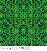 Купить «Seamless abstract pattern, black contours on green background. Vector», фото № 33778206, снято 14 июля 2020 г. (c) age Fotostock / Фотобанк Лори