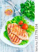 Купить «Fried chicken and salad on the plate», фото № 33779534, снято 10 июля 2020 г. (c) age Fotostock / Фотобанк Лори