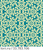 Купить «Vector abstract decorative floral yellow blue seamless pattern», фото № 33783106, снято 14 июля 2020 г. (c) easy Fotostock / Фотобанк Лори