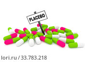 Placebo pills concept with pills isolated on white background. 3D rendering. Стоковое фото, фотограф Zoonar.com/Jurgis Mankauskas / age Fotostock / Фотобанк Лори