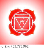 Vector first root chakra Muladhara sanskrit seed mantra Lam hinduism syllable lotus petals. Dot work tattoo style hand drawn white monochrome symbol red isolated background for yoga meditation. Стоковое фото, фотограф Zoonar.com/TRIKONA / easy Fotostock / Фотобанк Лори