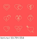 Купить «Vector various red color outline valentines day heart icons set», фото № 33791554, снято 30 мая 2020 г. (c) easy Fotostock / Фотобанк Лори