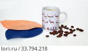 Купить «Cup of coffee and coffee beans on white background», фото № 33794218, снято 19 мая 2020 г. (c) Валерия Попова / Фотобанк Лори