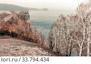 Купить «View from the youthful Kurgan of the Zhiguli Mountains to the Volga expanses.», фото № 33794434, снято 4 ноября 2010 г. (c) Акиньшин Владимир / Фотобанк Лори
