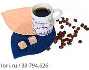 Купить «Cup of black coffee, two pieces of brown sugar and coffee beans on white background», фото № 33794626, снято 19 мая 2020 г. (c) Валерия Попова / Фотобанк Лори