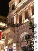 Дом с ночной подсветкой на улице Низами в Баку. Азербайджан. Стоковое фото, фотограф Евгений Ткачёв / Фотобанк Лори
