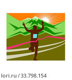 Retro style illustration of a silhouette of marathon race finisher runner flashing victory hand sign with snow capped mountains and sunburst and finish... Стоковое фото, фотограф Zoonar.com/aloysius patrimonio / easy Fotostock / Фотобанк Лори