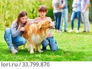 Купить «Kinder streicheln ihren Hund im Garten im Sommer auf einer Familienfeier», фото № 33799870, снято 25 мая 2020 г. (c) age Fotostock / Фотобанк Лори