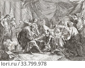 The death of Antiochus IV Epiphanes, after an 18th century work by French artist Noel Halle, 1711 - 1781. Antiochus IV Epiphanes, c 215 BC - 164 BC, King of the Seleucid Empire. Редакционное фото, фотограф Classic Vision / age Fotostock / Фотобанк Лори