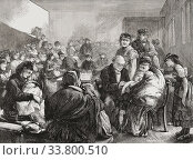 The District Vaccinator, after an 1871 woodcut by E. Buckman. A doctor inoculates a crying child being held by its mother in a dispensary in London's East... Редакционное фото, фотограф Classic Vision / age Fotostock / Фотобанк Лори