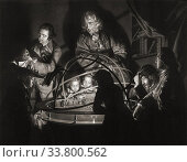 A Philosopher Lecturing on the Orrery. From a print by William Pether, after a painting by Joseph Wright of Derby. 18th century. To quote Wikipedia, 'An... (2019 год). Редакционное фото, фотограф Classic Vision / age Fotostock / Фотобанк Лори