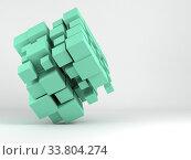 Купить «Abstract green random sized cubes array 3 d», иллюстрация № 33804274 (c) EugeneSergeev / Фотобанк Лори